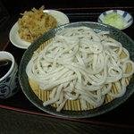 今福屋 - もりうどん(370円)+かき揚げ(100円)