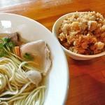 麺処 清水 - 塩煮干ワンタンそば & チャーシューご飯