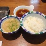天ぷらの山 - ご飯・味噌汁