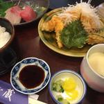 ふじ蔵 - 蔵膳900円の天ぷらサラダ、刺身、茶碗蒸し