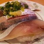 回転寿司 やまと - 青魚3貫(自家製〆さば、あじ、いわし)340円税別 2017.5