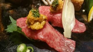 吉祥寺 三うら - 伊万里牛 炙り(うにのせ)