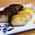 66752784 - 鯖寿司、鯛寿司盛り合わせ