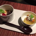 博多 十和蔵 - 抹茶とあずきのゼリーと十和蔵焼ぷりん