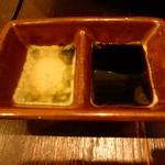 魚と日本のお酒 むく - 甘めのお醤油と煎り酒