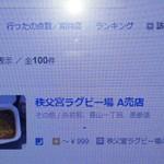 秩父宮ラグビー場 売店 - どうやらこちらのお店が初紹介で100キャップ目だったそうです。
