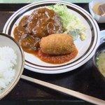 田や - ハンバーク&カニクリームコロッケ定食