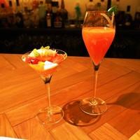 フィナンシェ-4月のデザートコース(トマト畑の小さなお客様、カンパリとブラッドオレンジのシャンパンカクテル ライムの香り)