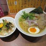 麺屋横浜にぼし堂 - 煮干し塩ラーメン+ネギチャーシュー丼2017.04.07
