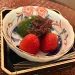 おもてなし茶屋 咲扇 - 抹茶ゼリーとあずき 苺添え