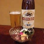 おおみ - 料理写真:瓶ビールと通しのぬた