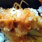 酒処 ときた - 立ち呑み 鴇田 @板橋本町 ランチ 紅唐揚げ丼 僅かに見える赤いのが紅ショウガ 七味唐辛子掛けちゃってて且つピンボケでスンマソン