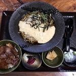 蕎麦 脇本 - 飛騨牛ミニステーキ丼+山菜自然薯そば 税込2,900円