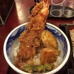 島彦本店 - 天丼(海老 + 薩摩芋 + 南瓜 + ししとう)