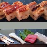 66852631 - 穴子箱寿司&お造り盛り合わせ