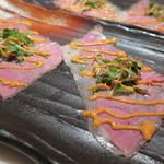 29ON - 黒毛和牛サーロイン肉の大葉や茗荷 胡麻ダレ巻き