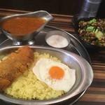 ターリー屋 - 料理写真:キーマカツカレー定食、インド豆のスパイシーサラダ