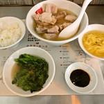 新加坡肉骨茶 - 肉骨茶満喫セット (骨付き肉骨茶+ライス・ミースア・春菊)と追加オーダーの肉増し (骨なし)