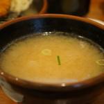 とん吉 - 豆腐の味噌汁、キャベツと共に一度だけお替わりが可能です(2017.5.11)