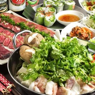 【和牛炭火焼肉×ベトナム料理!!】両方楽しめるコースもご用意