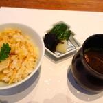 和食 了寛 - 飯物 筍の炊き込みご飯、赤だし、お新香
