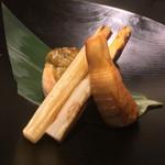 お料理 七草 - アブラボウズ蕗味噌焼き フランス産ホワイトアスパラと筍