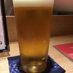 食・心 旬ぎく - 生ビール。これ以降、高知のお酒「船中八策」と「黒霧島」を頂きました。