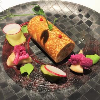 ゴーシェ - 前菜2 豚肉とレンズ豆、クレープ、自家製ピクルス