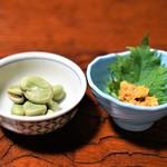 鷹匠壽 - バフン雲丹、蚕豆