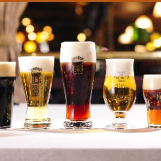 6種の生ビールとゲストエール