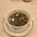 66930363 - 肉ミンチの香菜スープ