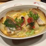 レストラン エム - 長崎平戸レンコ鯛と白アスパラガスのオーブン焼き アクアパッツァ仕立て