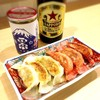 Nagomigyouza - ドリンク写真:ビール&地酒ワンカップ&2色餃子
