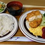 レストラン しらはま - 日替りランチ・チキンカツとベーコンのオムレツ