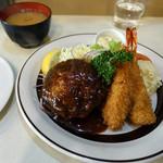 レストラン しらはま - えびフライ・ハンバーグ(ライス・味噌汁は別注文)
