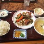 66980199 - 揚げ鶏と野菜の黒酢あん定食