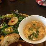 カフェ パンプルムゥス - 卵スープと、しらすトースト