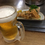 山ちゃん - 生ビール、スジ、厚揚げ、豆腐。