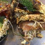 山ちゃん - 広島のモヤシは細くて格別に旨い! 考えながら切るので、お好み焼きは頭で食べます。
