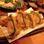 へぎそば昆 - 牡蠣のピーマン詰