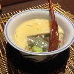 ニュー信州 - お通しの茶碗蒸し(蓬豆腐入り)