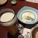 67009868 - 生ビールとお通しのざる豆腐