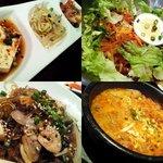 """韓国料理 李朝 - """"前菜、ビビンチョルメン、チャプチェ、ユッケジャン"""""""