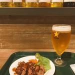 カフェ グリーン トカチ - サッポロビールとローストビーフ。