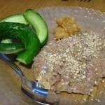 自然派ビストロCORE - ◆本日のなめろう(この日は鯵)・・丁寧に作られていて、添えられたお味噌と合わせるといいお味に。