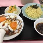 重松飯店 - Cセット。焼豚玉子飯(小)、ざるラーメン、サラダで810円です。