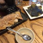 小田原バル - 下田豆腐店の油揚げ明太焼き 480円  先日行った近くの下田豆腐店さんの油揚げがあったので頼んでしまいました!  お餅と明太子が挟まってます! 韓国ノリで巻いて食べます!