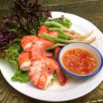 アムリタ食堂 - 人気料理♪パクチーの根っこと海老のバター蒸し