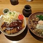 67047304 - 男の肉ぶっかけ(冷)+デミカツ丼:880円+780円ー380円?=1280円