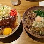 67047329 - 汁IN+生卵IN:男の肉ぶっかけ(冷)+デミカツ丼